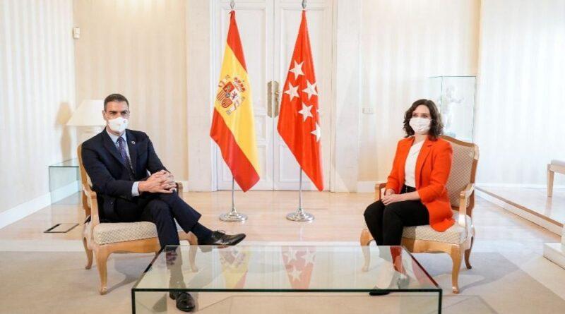 Pedro Sánchez, presidente del Gobierno, junto a Isabel Díaz Ayuso, presidenta de la Comunidad de Madrid (Foto: CAM)